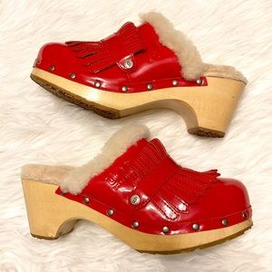 Ugg Red Patent Leather Kiltie Clogs Mules 8